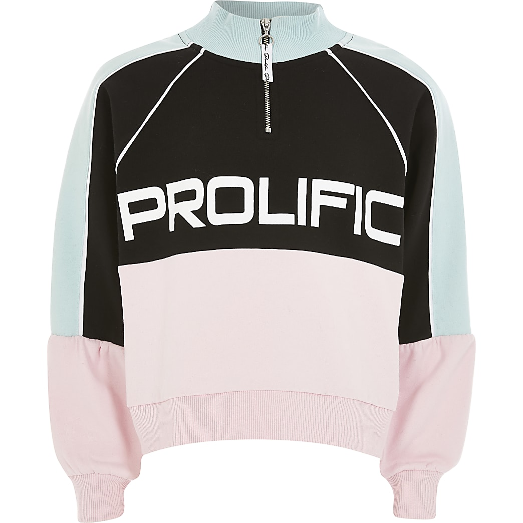 Girls Prolific pink zip neck sweatshirt