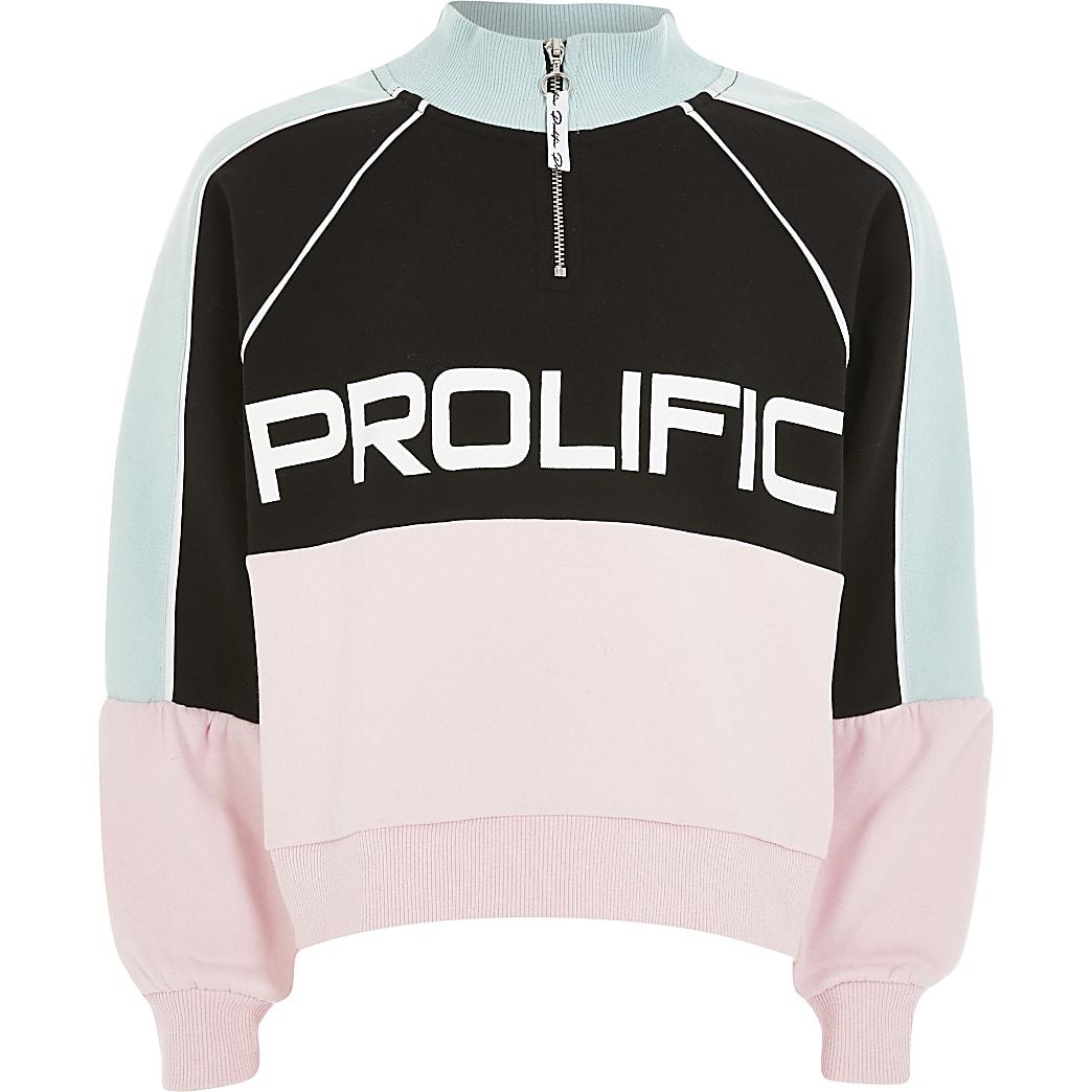 Girls Prolific pink zip neck sweatshirt