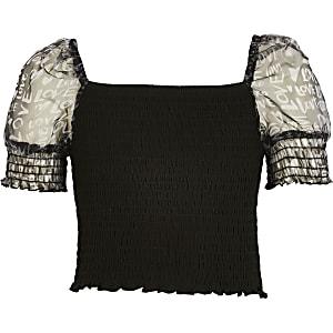 Schwarzes Oberteil mit transparentem Organza-Ärmel für Mädchen