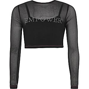 """Schwarzes Mesh-Top mit """"Empower""""-Schriftzug aus Strass"""