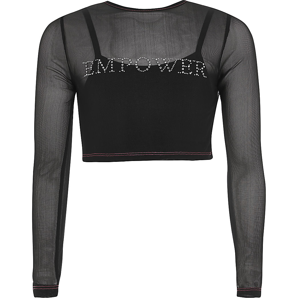Girls black 'Empower' diamante mesh top