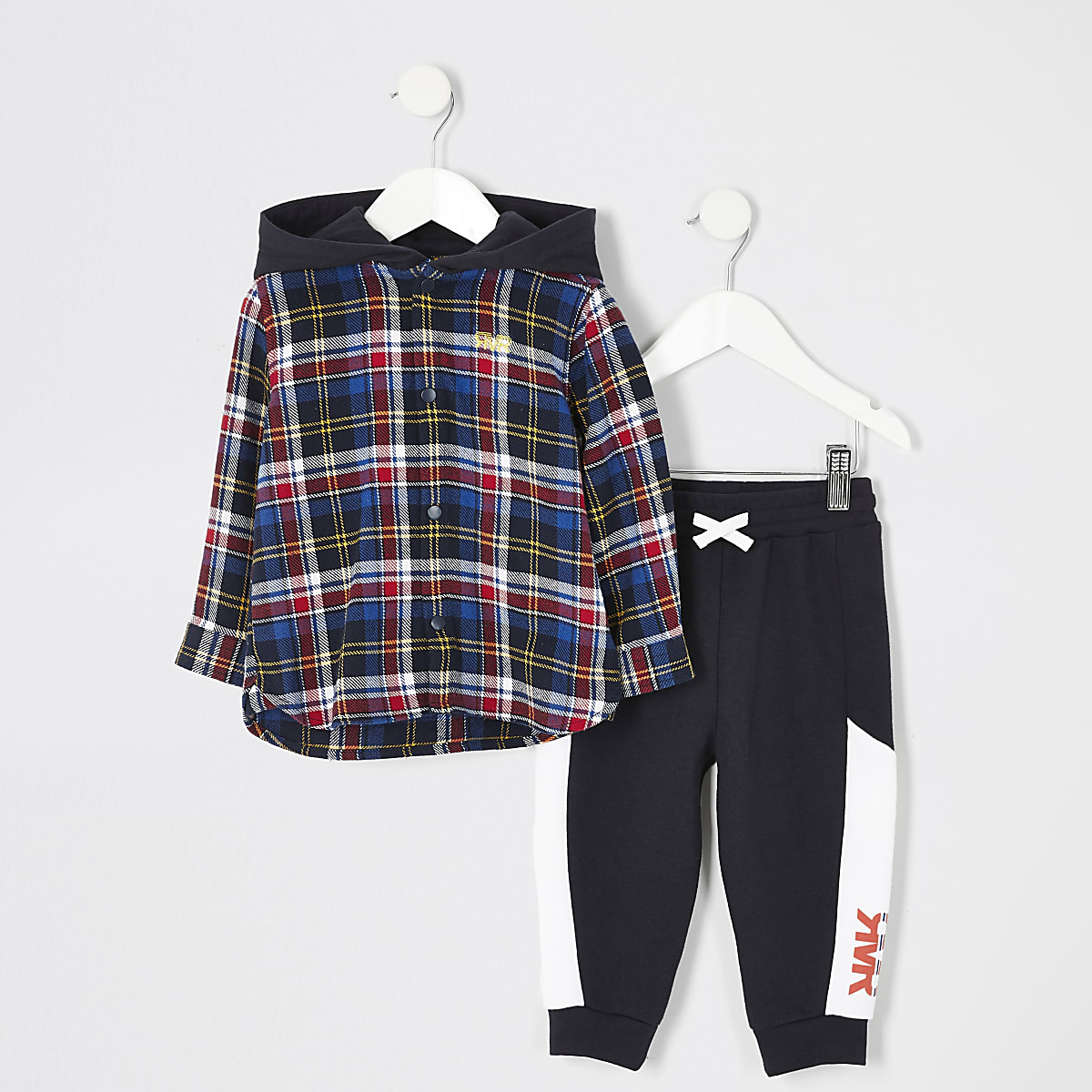 Mini boys blue check hooded shirt outfit