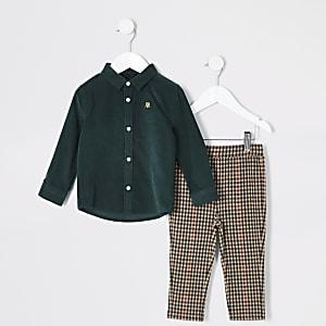 Mini - Donkergroen corduroy overhemd outfit voor jongens