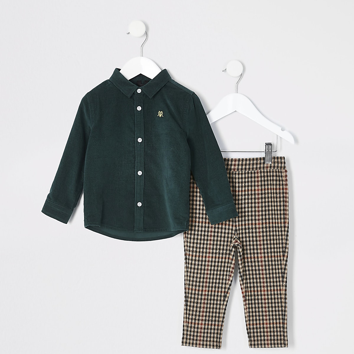 Mini boys dark green cord shirt outfit