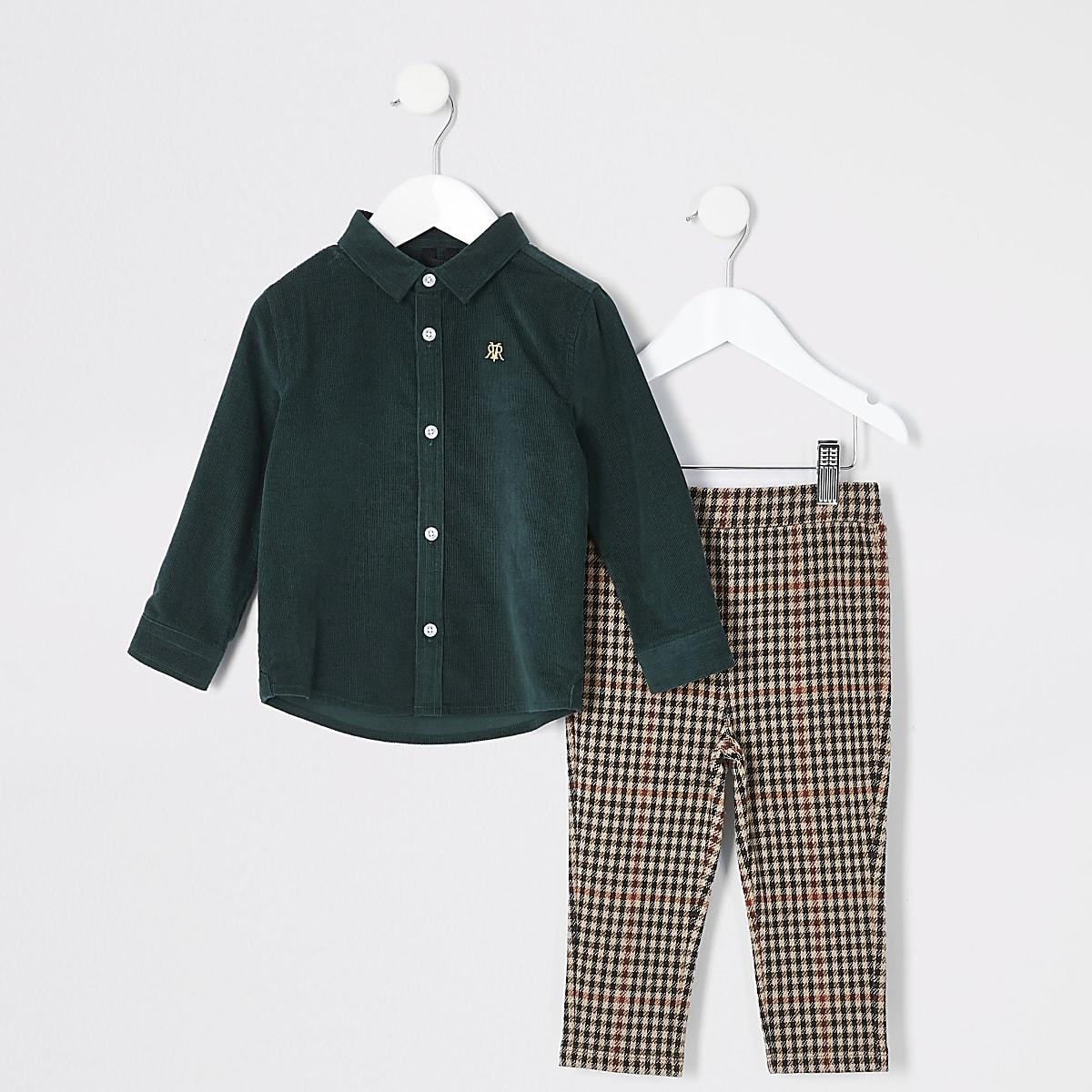 Mini boys dark green cord shirt outfit