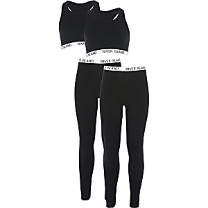 Girls black cropped top and leggings 2 pack