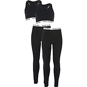 Zwarte cropped top en leggings voor meisjes set van2