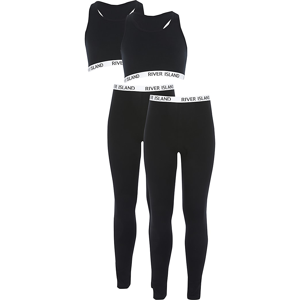 Girls black crop top loungewear 2 pack