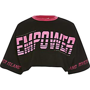 Girls black 'Empower' cropped T-shirt