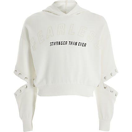 Girls white 'Fearless' cutout cropped hoodie