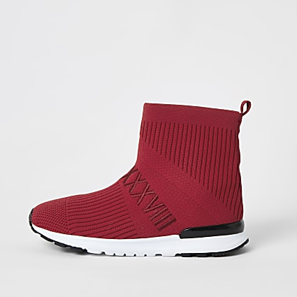 Boys red ribbed hi-top sock trainers
