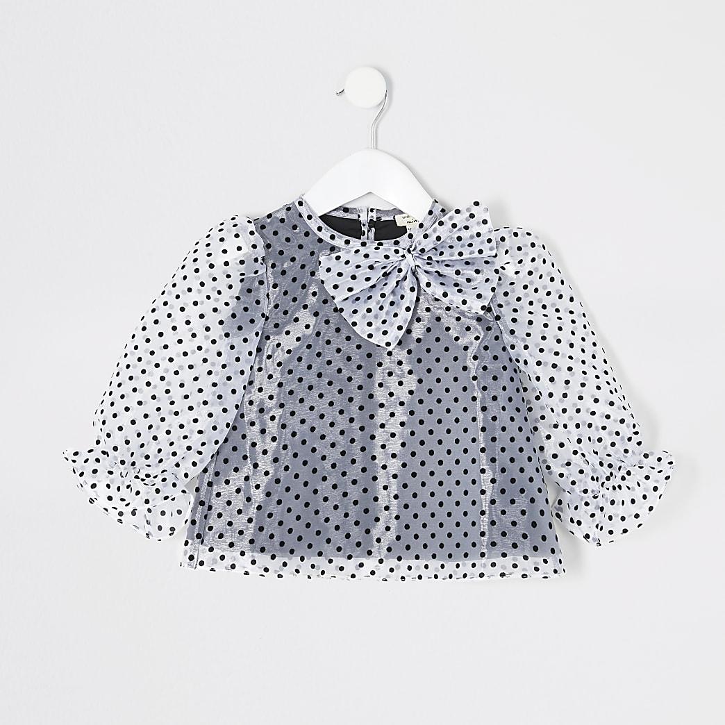 Mini - Witte organza top met stippen voor meisjes