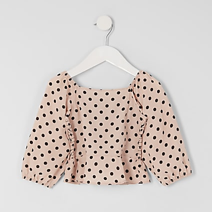 Mini girls pink polka dot puff sleeve top