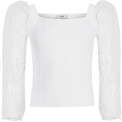 Girls white organza long sleeve knitted top