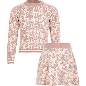 Pinkes Mädchenpullover-Outfit mit RI-Monogramm