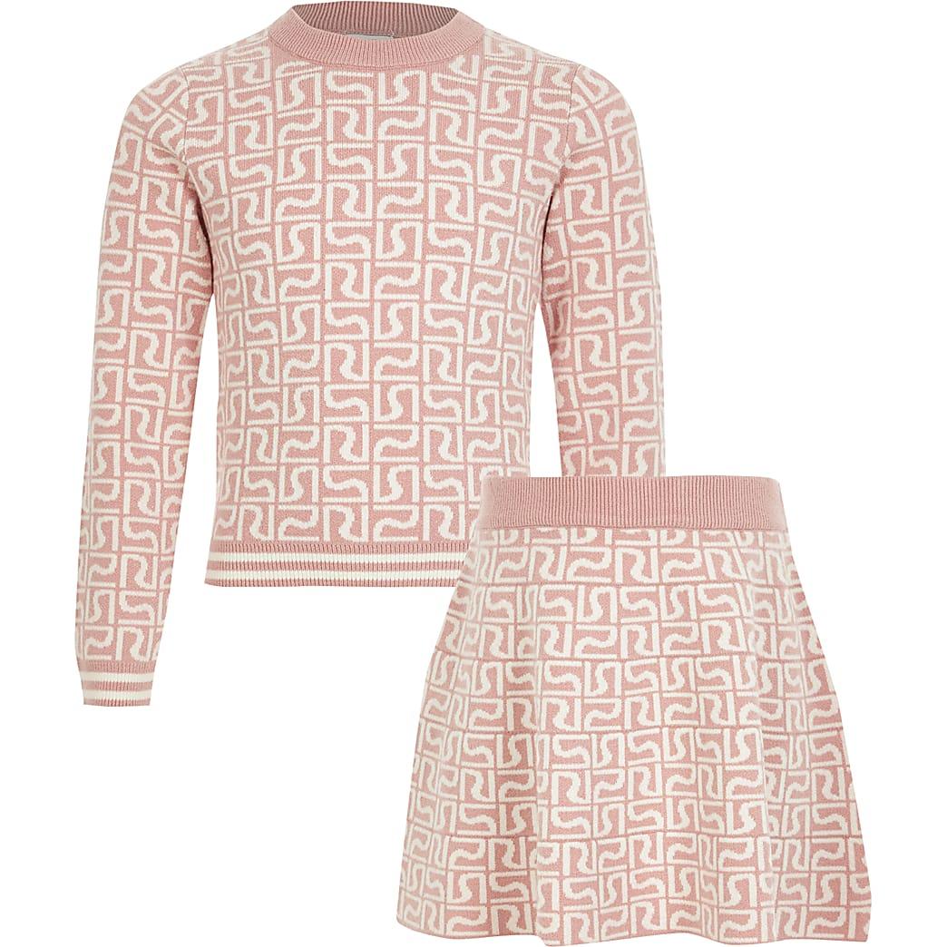 Roze trui outfit met RI-monogram voor meisjes