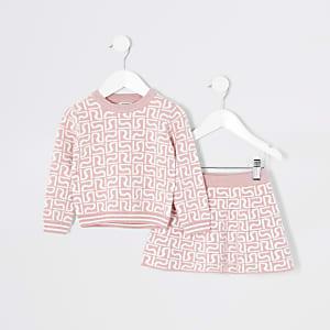 Tenue avec pull roseà monogramme RI Mini fille