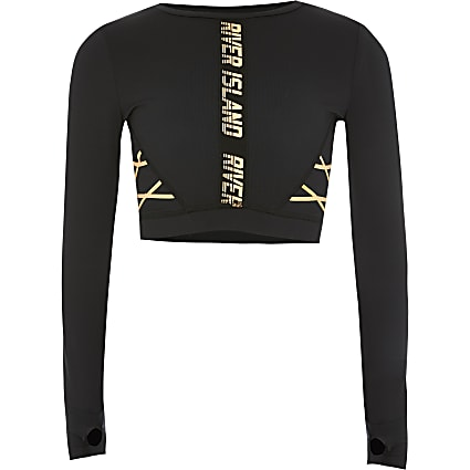 Girls RI Active black lace-up cropped top