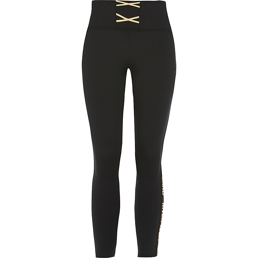 Girls RI Active black lace-up leggings