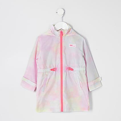 Mini girls pink tie dye RI hooded rain coat