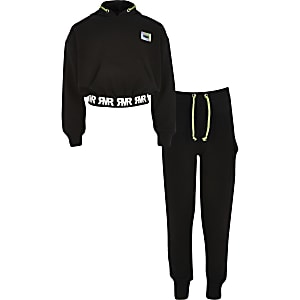 Hoodie en joggingbroek outfit met RVR-print voor meisjes