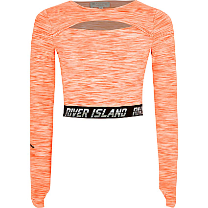 Girls RI Active orange cut out crop top