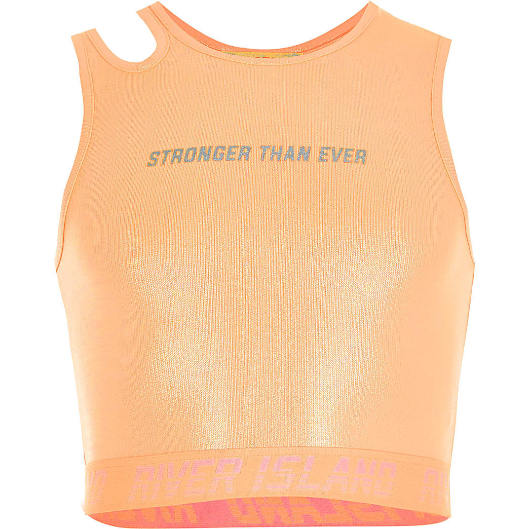 Girls RI Active coral shiny cropped top