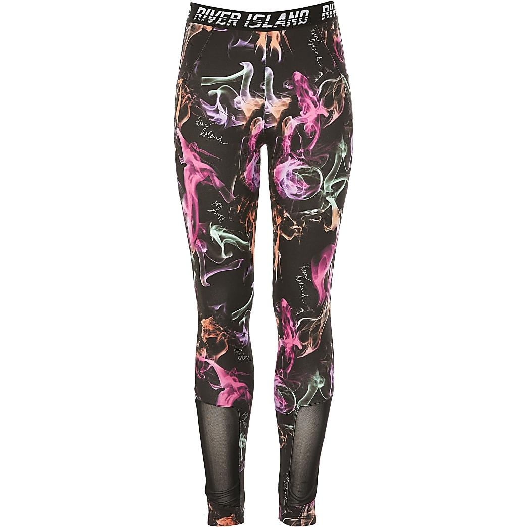 Girls RI Active black printed leggings
