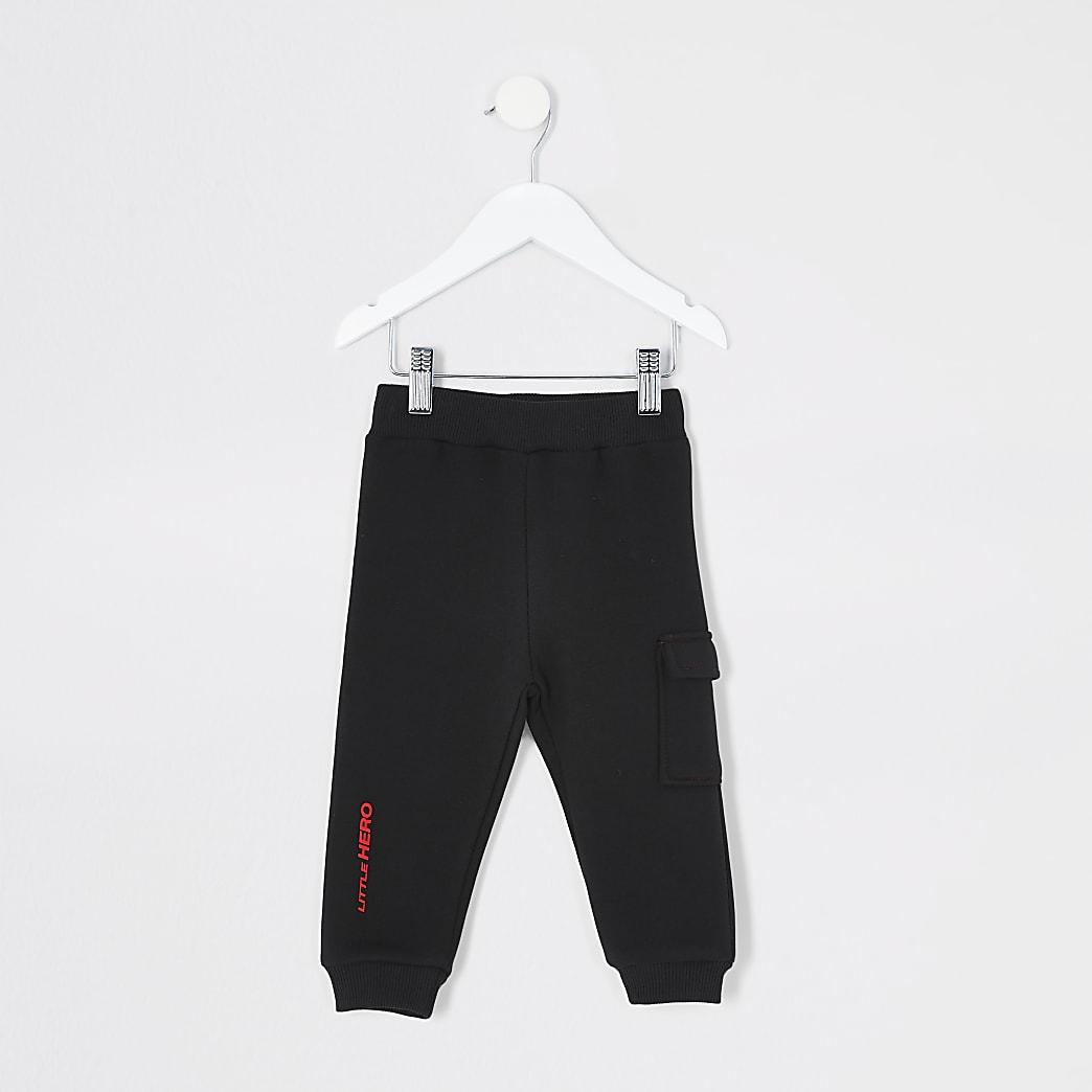 Mini boys black utility joggers