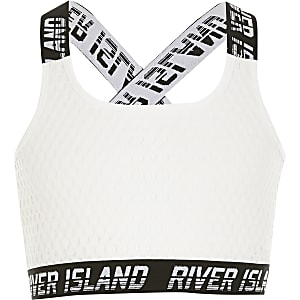 RI Active – Crop top blanc en résille pour fille