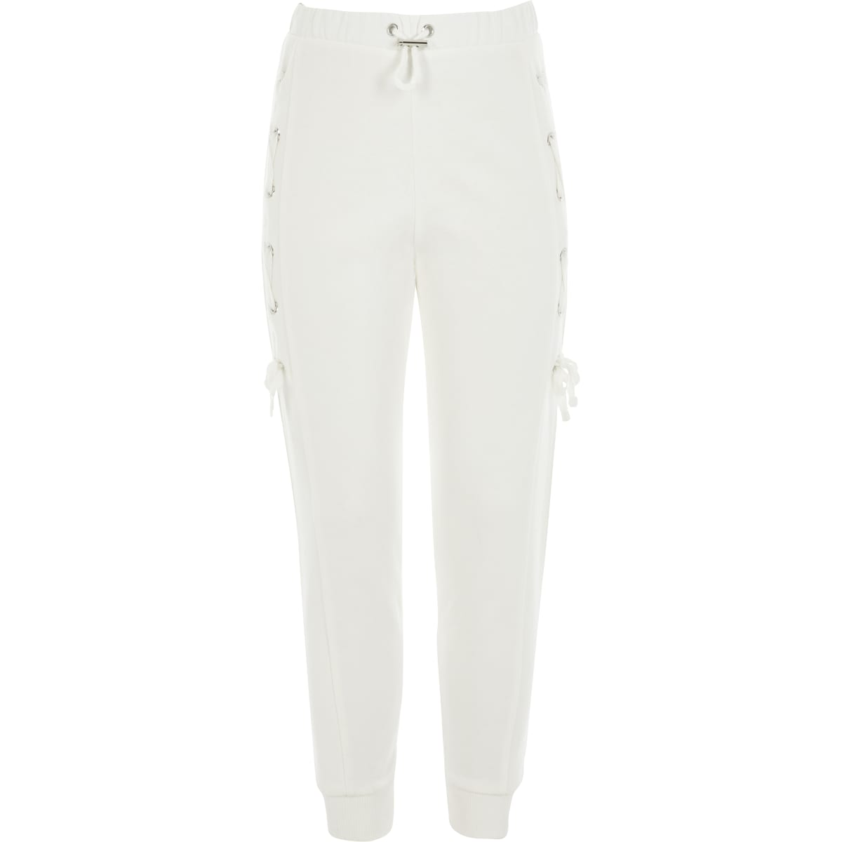 Girls white lace-up side joggers