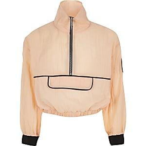 RI Active - Oranje sweater met halve ritssluiting voor meisjes