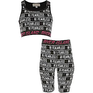 RI Active - Zwart outfit met 'fearless'-tekst voor meisjes