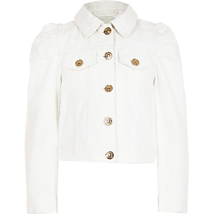 Girls white puff sleeve denim jacket