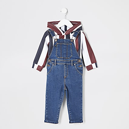 Mini boys stripe hoodie blue dungarees outfit