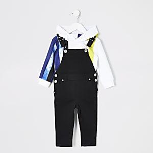 Latzhosen-Hoodie-Outfit in Batikoptik für kleine Jungen