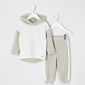Mini - Crèmekleurige warme hoodie outfit met kleurvlakken voor meisjes