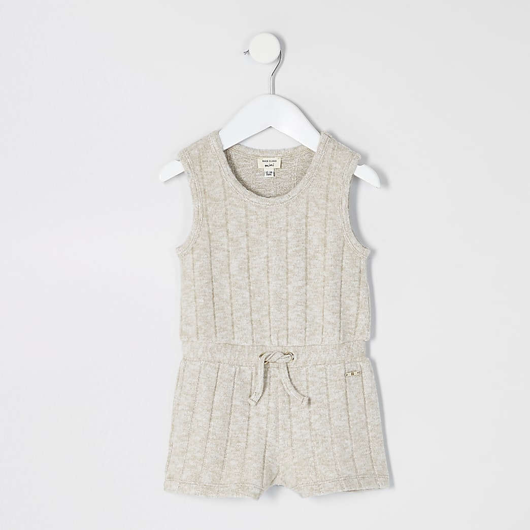 Mini girls pink cosy ribbed knitted playsuit