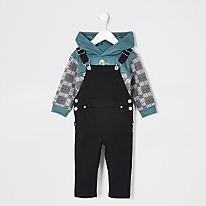 Mini - Zwarte geruite dungarees hoodie outfit voor jongens
