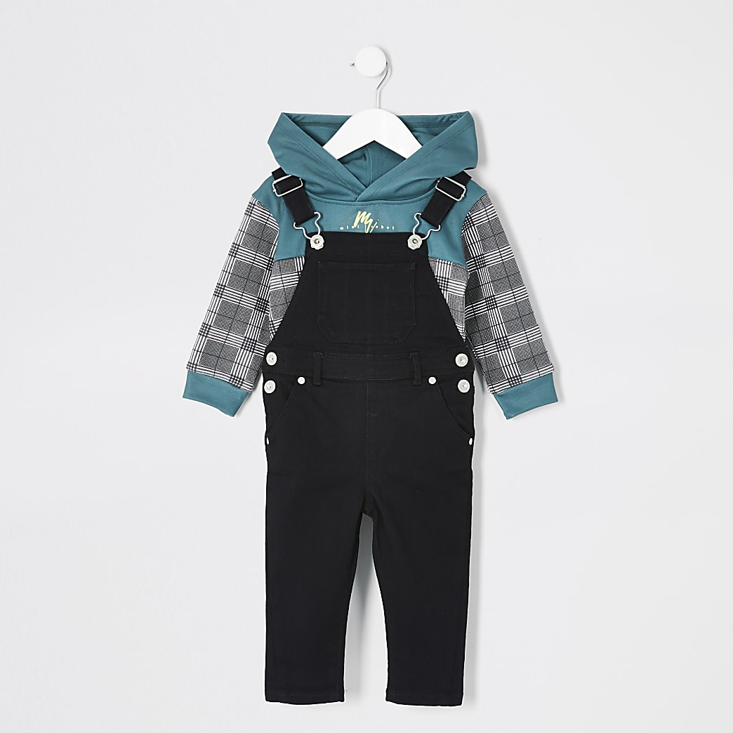 Mini boys check hoodie black dungarees outfit