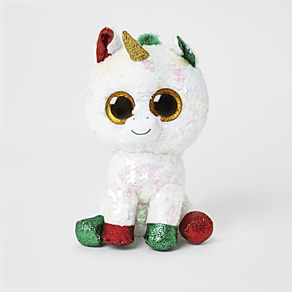 TY white sequin Christmas unicorn