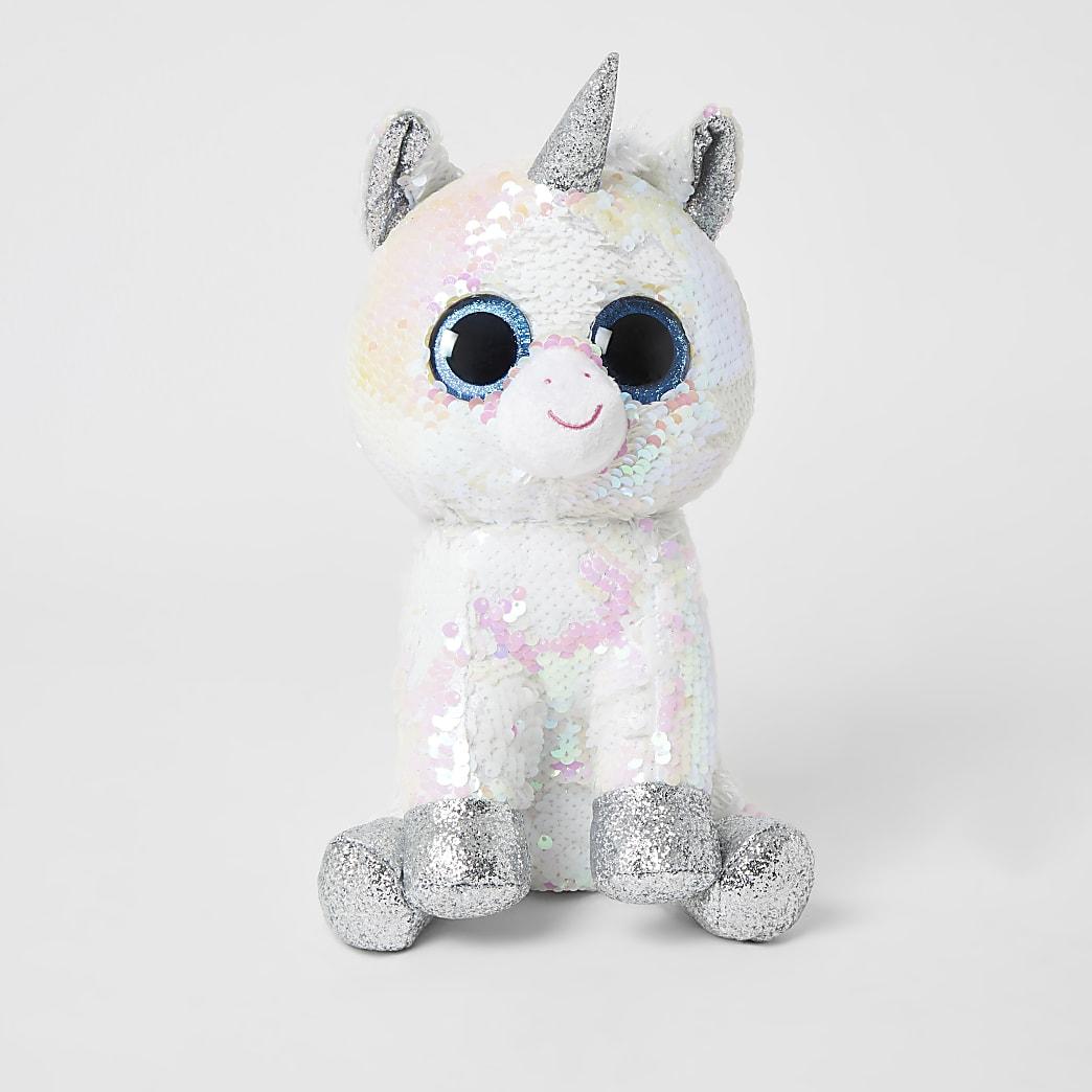 TY white sequin embellished unicorn