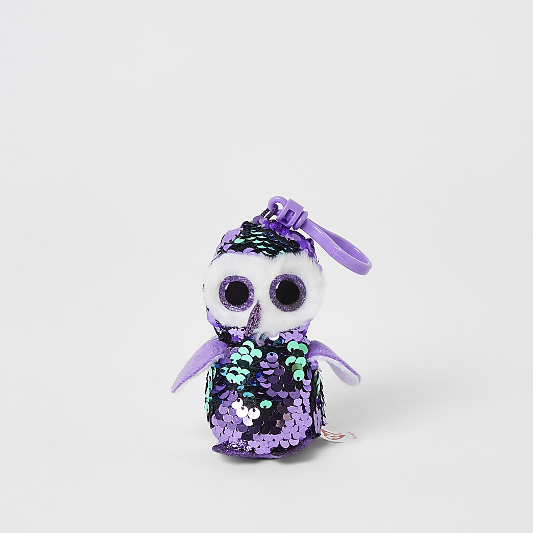 TY purple penguin sequin keyring