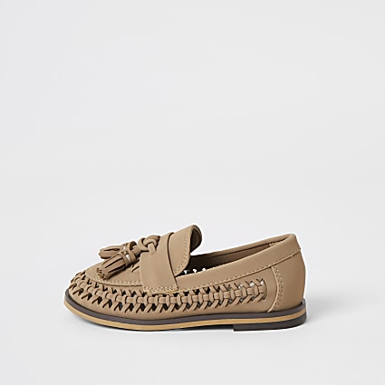 Mini boys brown woven tassel loafers