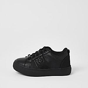 Mini - Zwarte sneakers met leeuwenhoofd in reliëf voor jongens