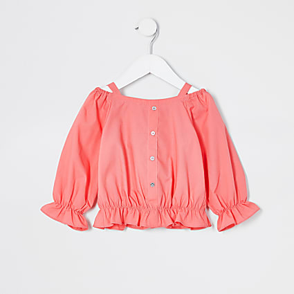 Mini girls pink bardot poplin top
