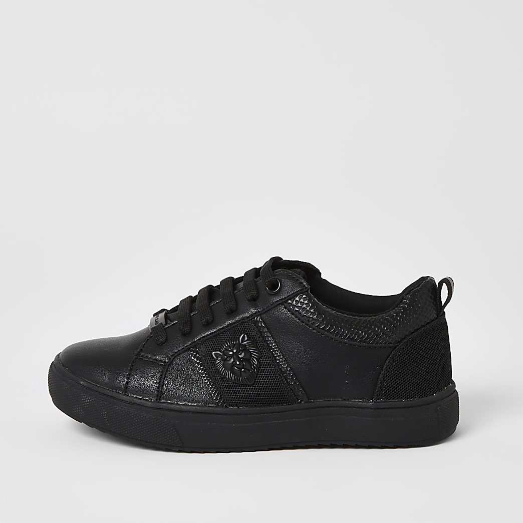 Boys black lion embossed lace-up trainers