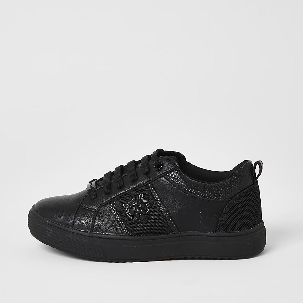 Schwarze Sneaker mit Löwenprägung für Jungen