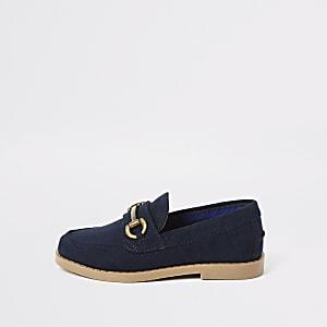 Mini boys navy snaffle loafers