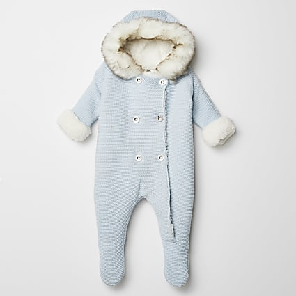 Baby blue knitted faux fur hood all in one